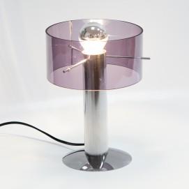 Lampe de bureau pour ampoule à calotte argentée en Plexiglas mauve des années 1970 - P. Rogier pour Oxar