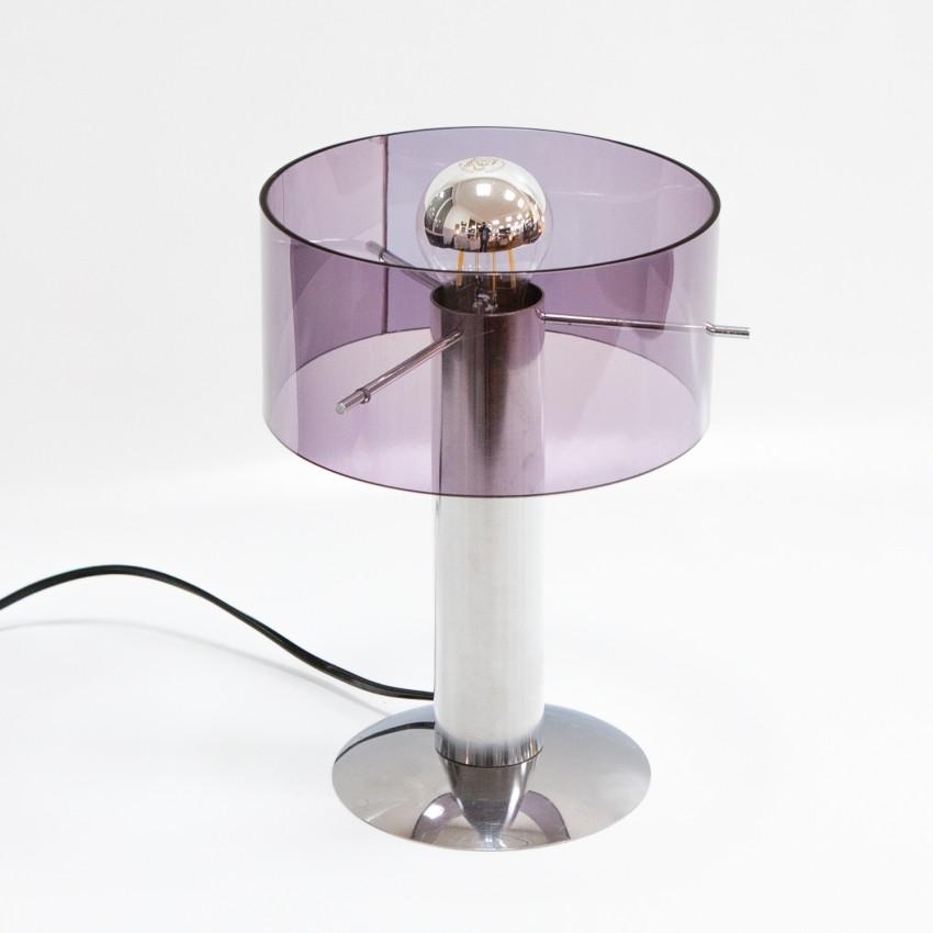 Lampe de bureau cylindrique en métal et Plexiglas des années 1970 - Rogier pour Oxar