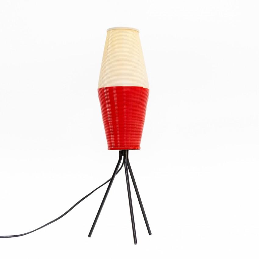 Piètement tripode en métal laqué noir et Rotaflex rouge et blanc