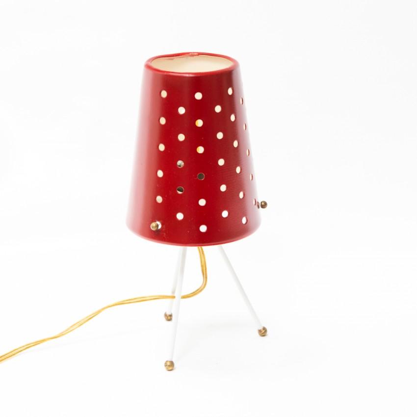 Lampe tripode des années 1950 en tôle perforée rouge