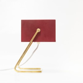 Lampe d'appoint cubique rouge et dorée