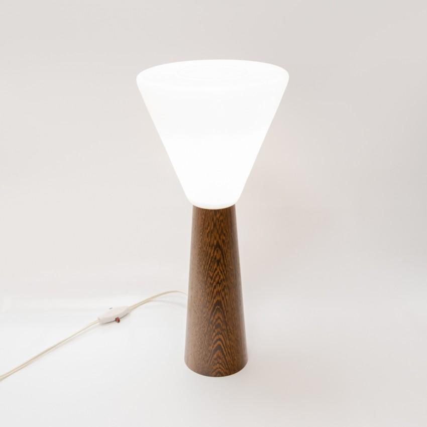 Lampe de bureau diabolo Philips en bois, verre et tôle