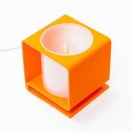 Lampe cubique en Plexiglas orange et blanc des années 1960