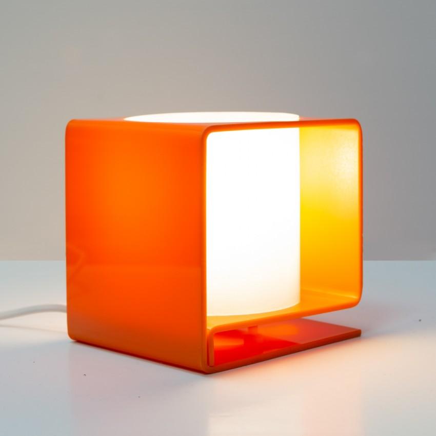 Cube lumineux en Plexiglas orange et blanc des années 1960