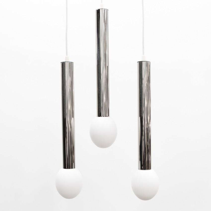 Suspensions cylindriques en métal chromé et verre des années 1960