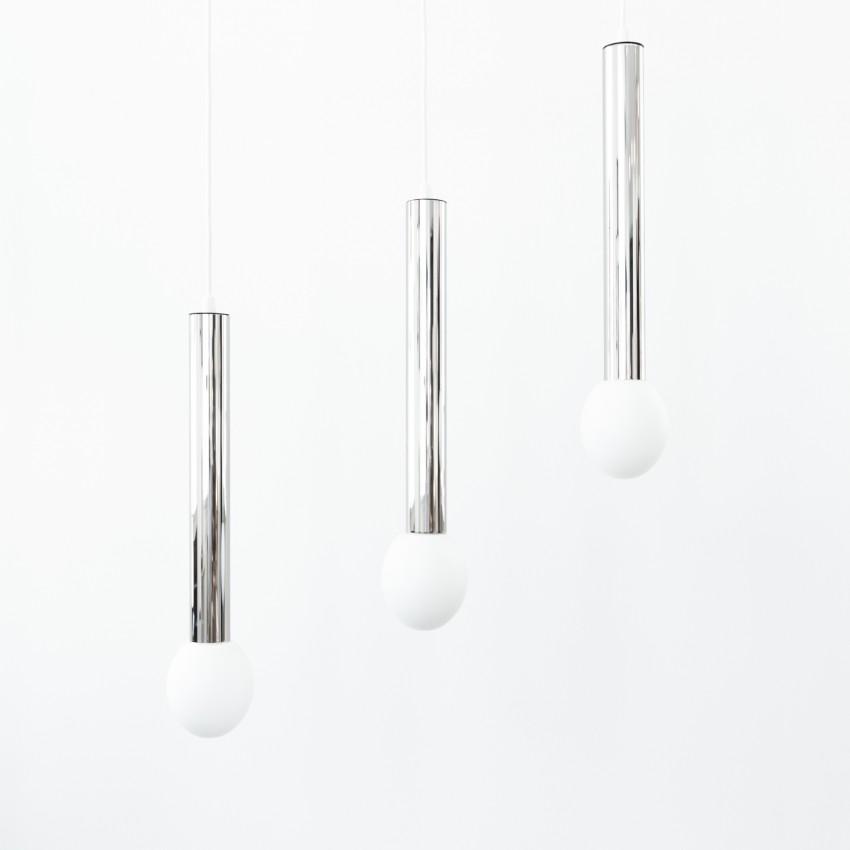 Trio de cylindres chromés à verreries opales