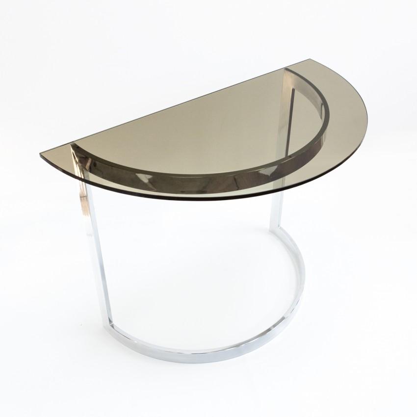 Console en verre fumé et métal chromé des années 1970