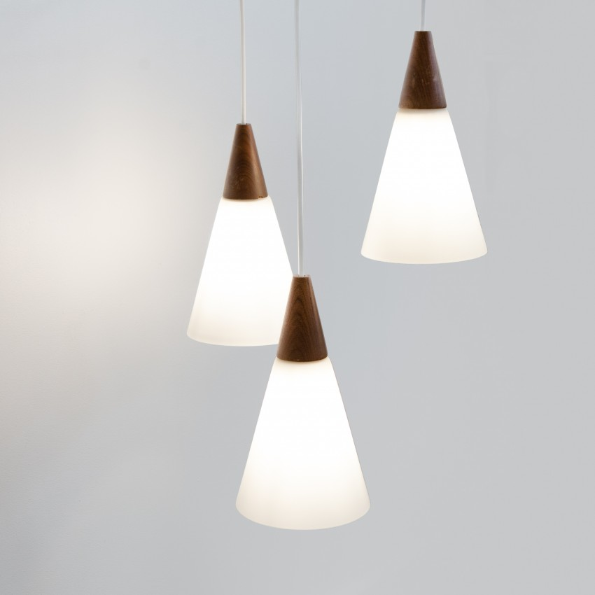 Suspension vintage Philips en verre et bois