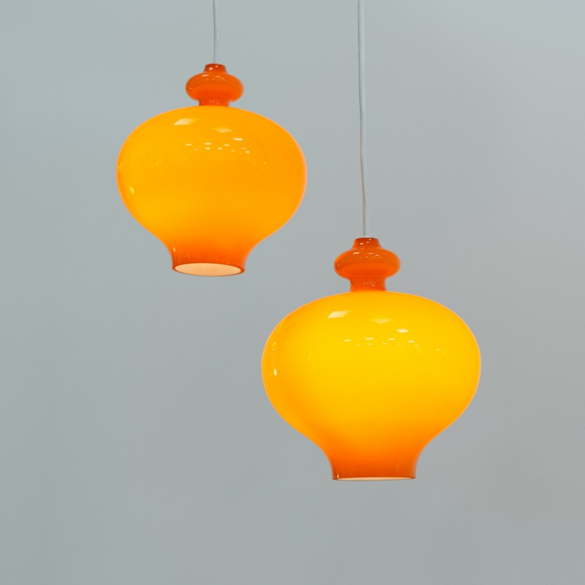 Suspension en verre orange Oplight 5171 de Jakobsson pour Markaryd