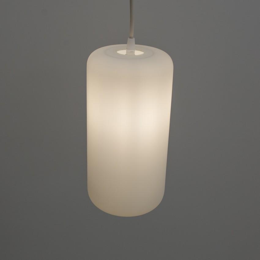 Cylindre de verre opale satiné à suspendre.