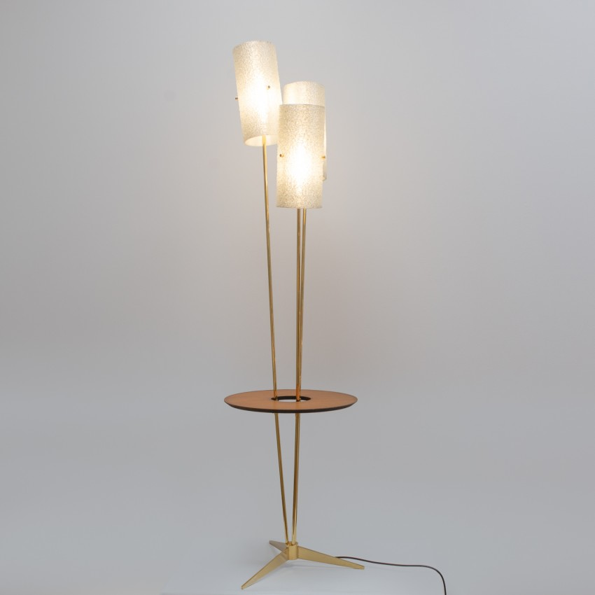 Lampadaire tripode à tablette de Jean Gandelin