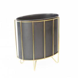 Corbeille à papier ovale en métal et laiton