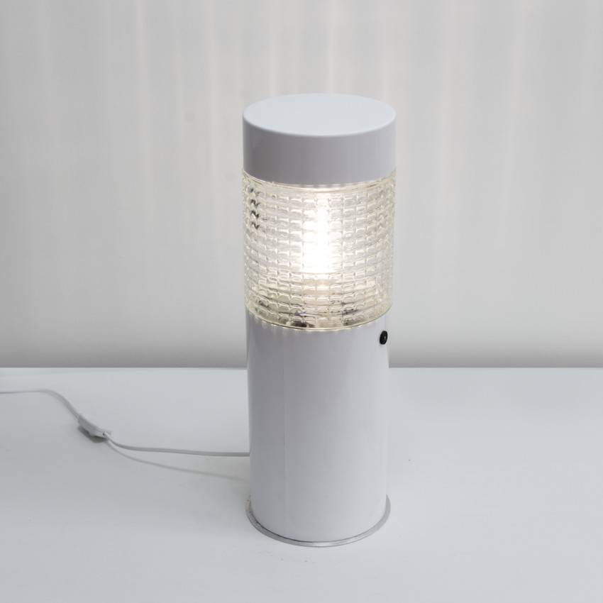 Luminaire cylindrique en verre et métal des années 1970 - Lita