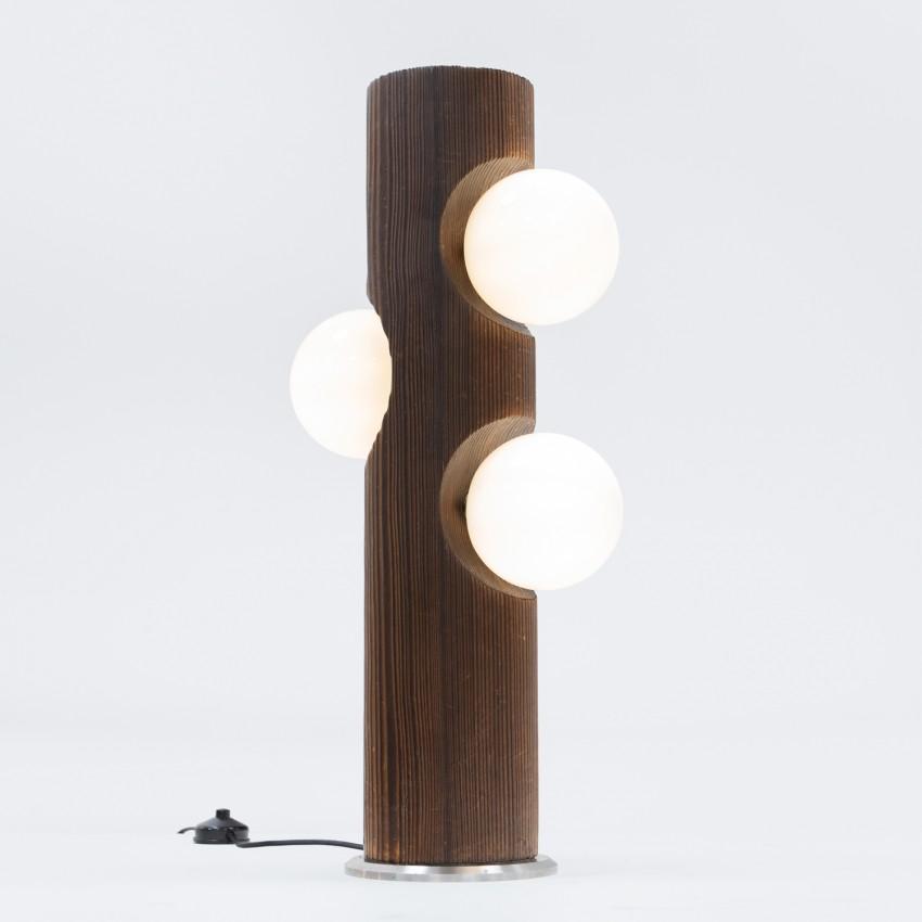 Lampadaire en bois et verre Temde-Leuchten