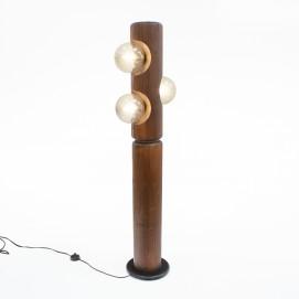 Lampadaire en bois à trois verreries sphériques Temde-Leuchten