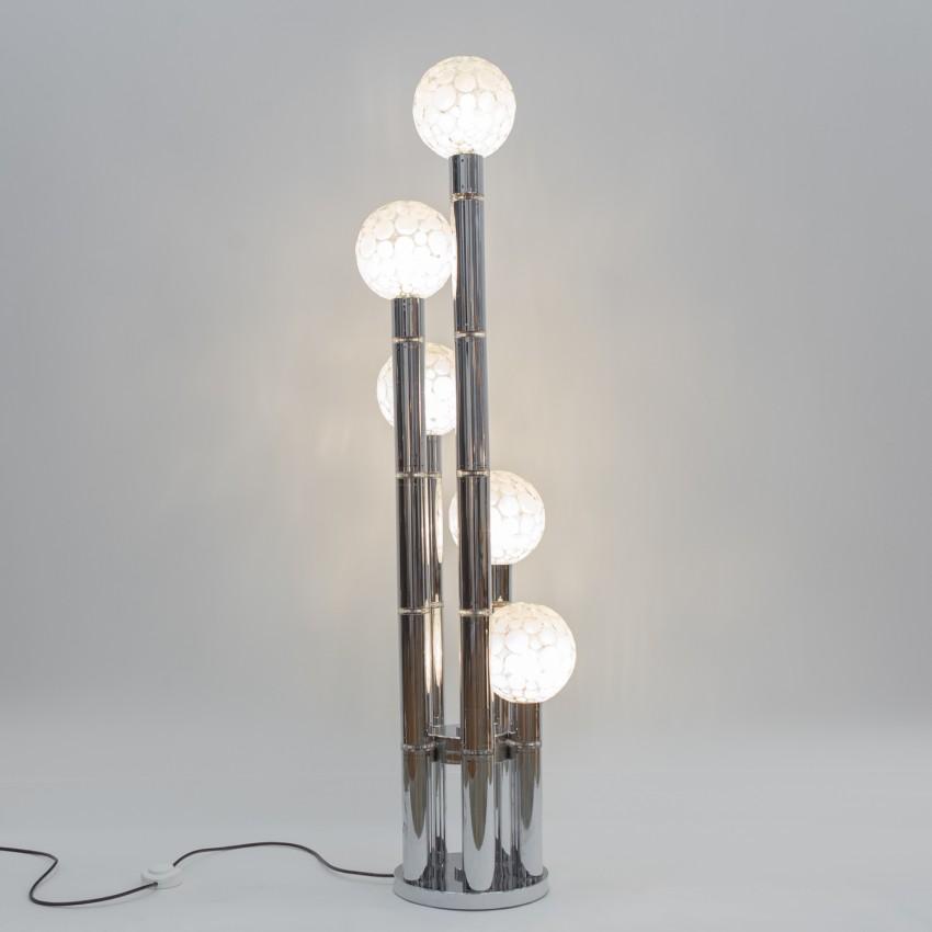 Lampadaire avec cylindres chromés et verreries sphériques