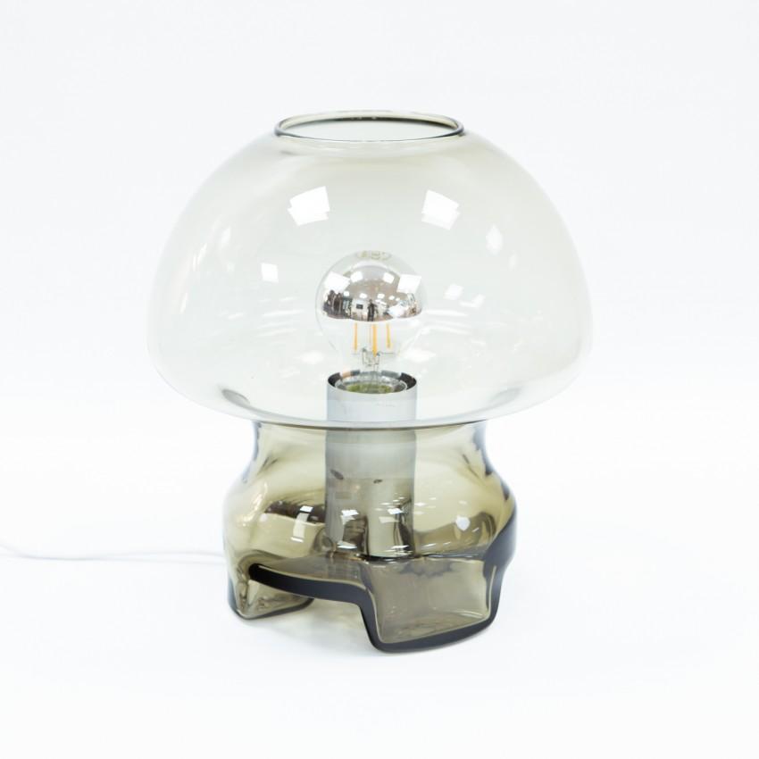 Lampe champignon en verre fumé des années 1970