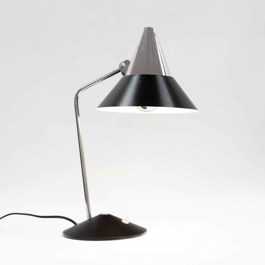 Lampe de bureau noir et chrome des années 1960 - Helo Leuchten