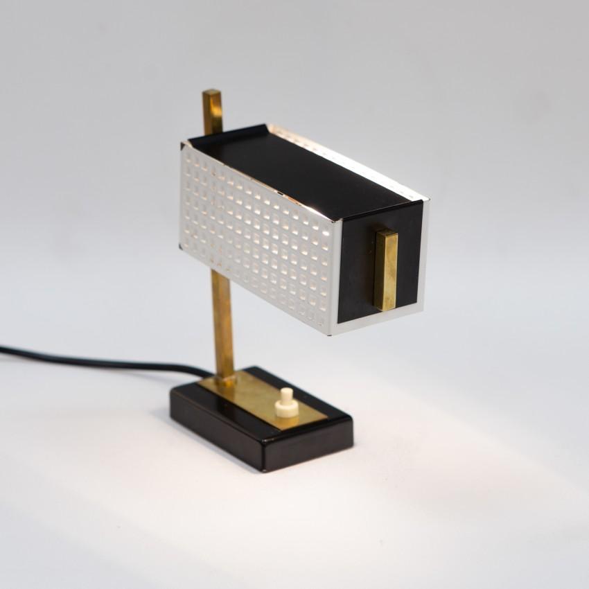Lampe de chevet en tôle perforée des années 1950