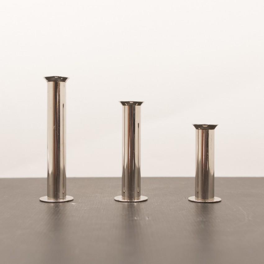 Trois bougeoirs en métal argenté - Vintage - Brocante en ligne