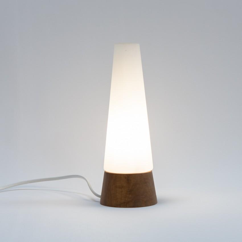 Lampe conique en verre et bois des années 1950