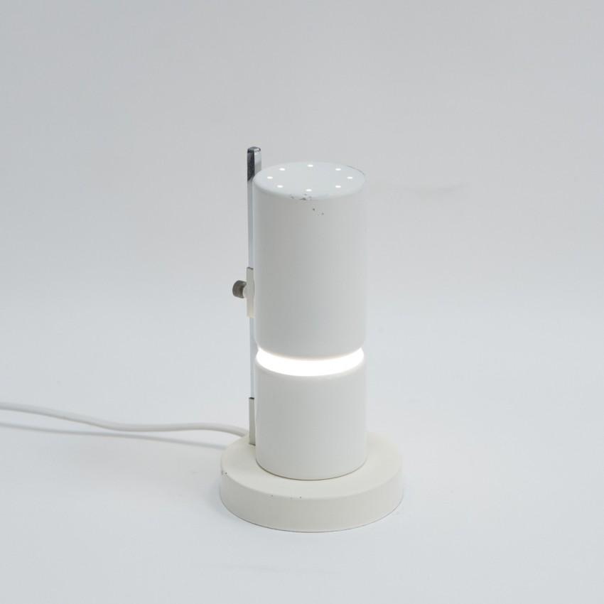 Lampe cylindrique coulissante en verre et métal des années 1960