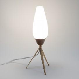 Lampe tripode en verre et laiton des années 1950