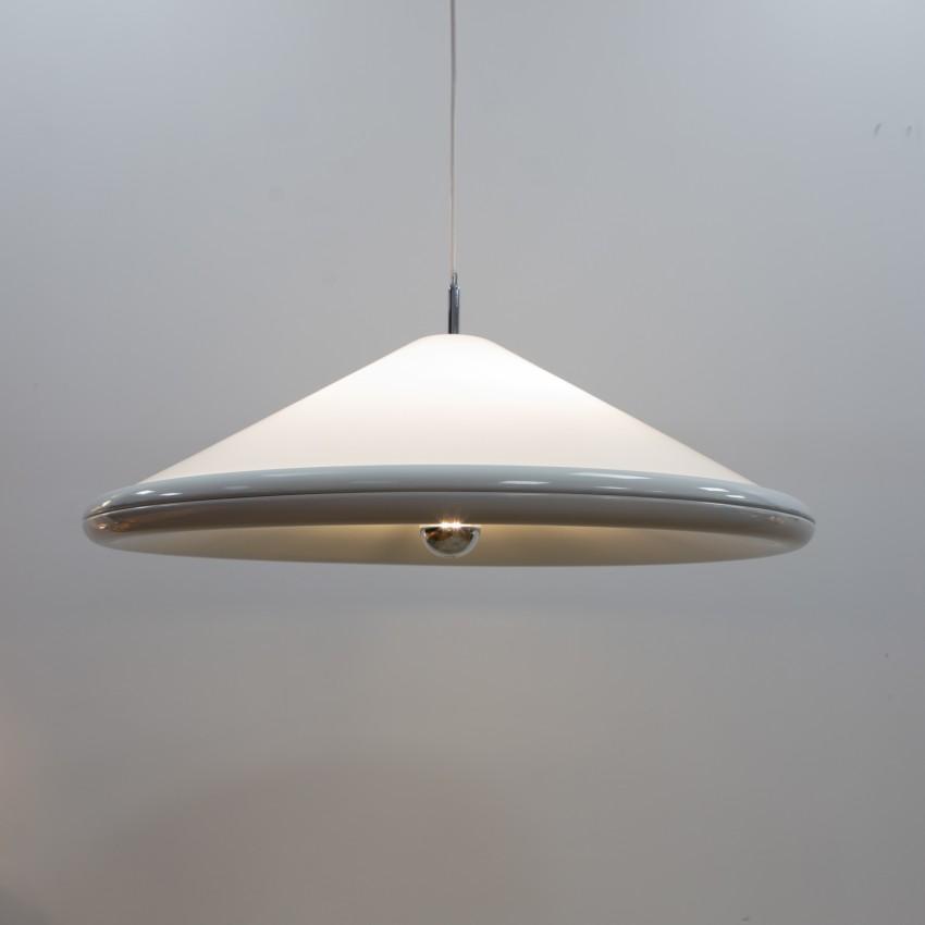 Grande suspension en Plexiglas et métal - Design 20e