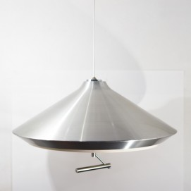 Grande suspension conique en inox - Années 1960, 1970