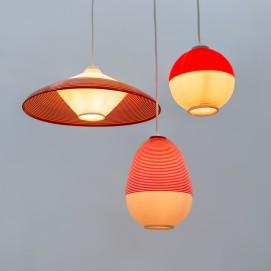 Lustre Rotaflex rouge et blanc - Mortier - Guariche