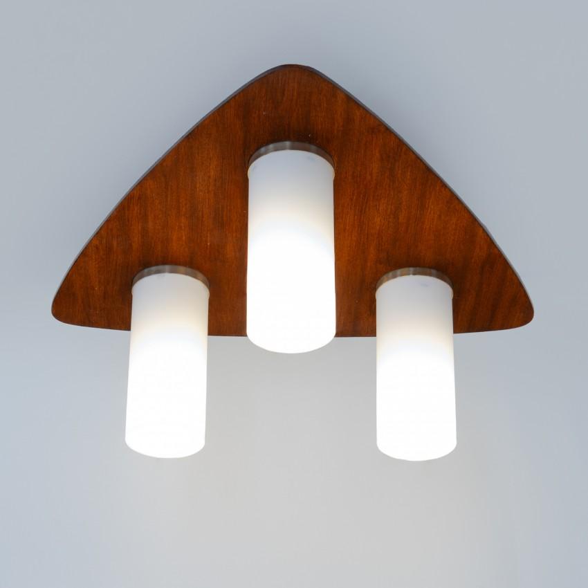 Plafonnier bois et verre Arlus 3017 - Années 1960