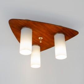 Plafonnier Arlus des années 1960 en bois et verre
