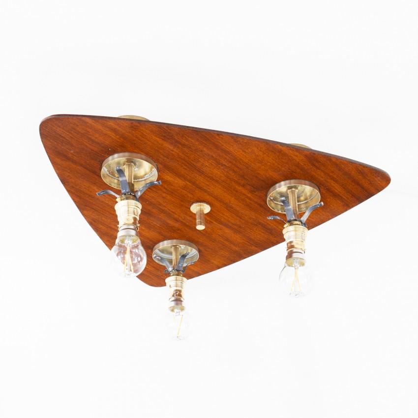 Plafonnier triangulaire en bois et cylindres en verre des années 1960