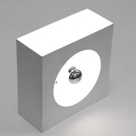 Applique carrée en métal, des années 1960, pour ampoule à calotte argentée de Guy Bertrand