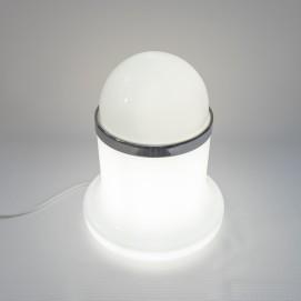 Lampe cylindrique et boule opaline de Reggiani