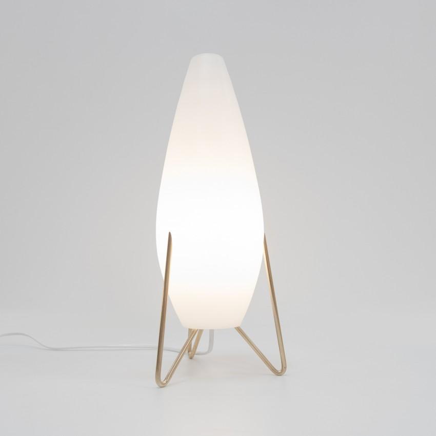 Lampe rocket en verre opale de Pierre Disderot