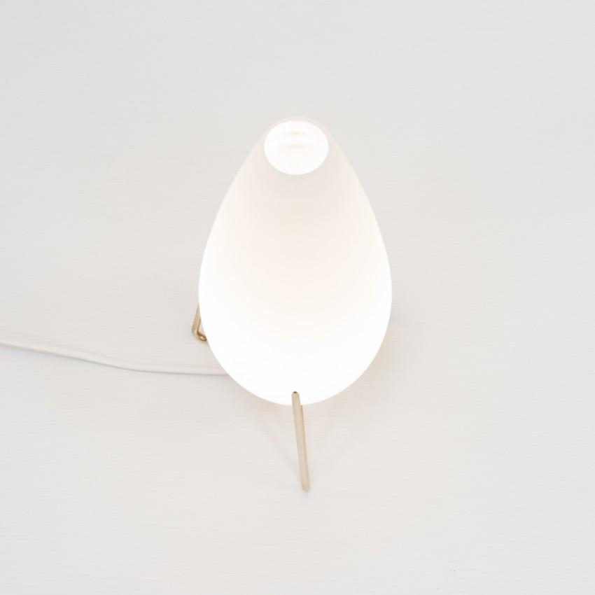 Lampe tripode en verre et laiton de Pierre Disderot