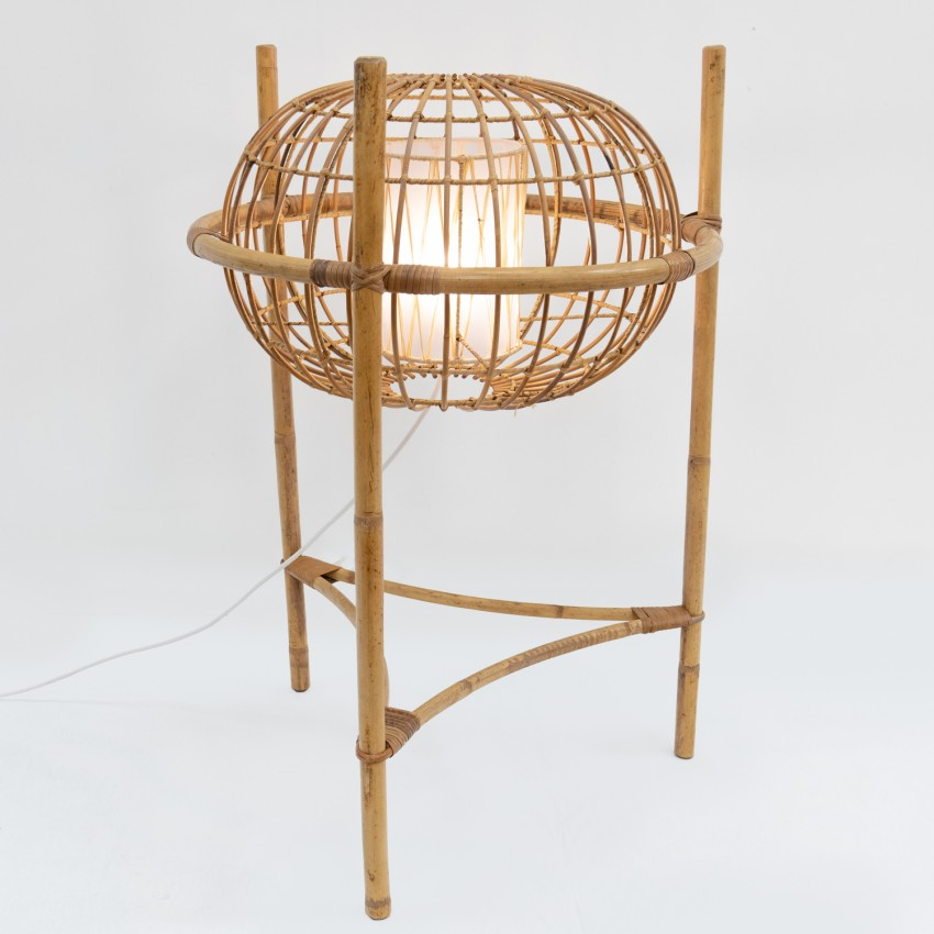 Lampadaire ellipse en rotin des années 1950