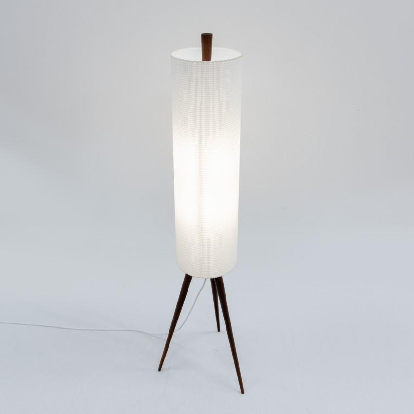 Lampadaire Rocket bois et abat-jour cylindrique