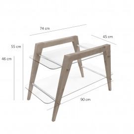 Table basse à deux plateaux en verre et bois des années 1950