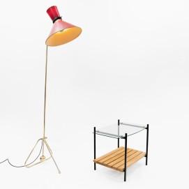 Table basse Charron - Lampadaire à balancier Marcel Guillemard