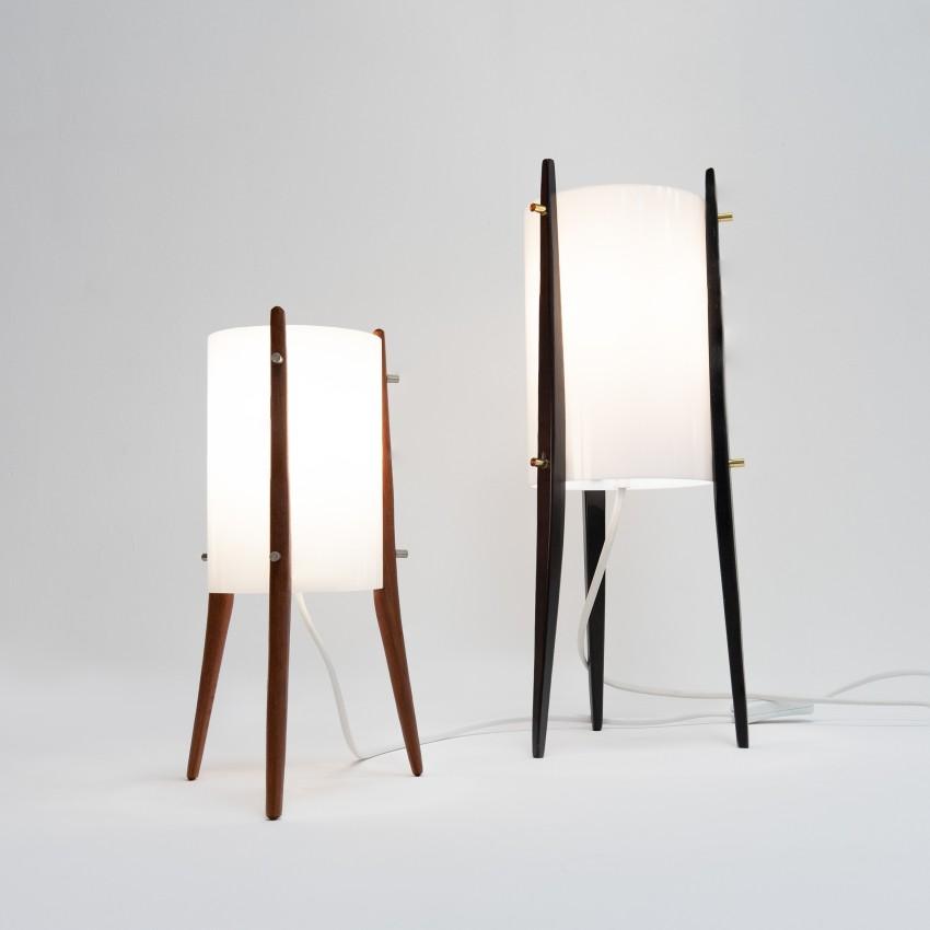 Lampe tripode en Plexiglas et bois - Alfaplex