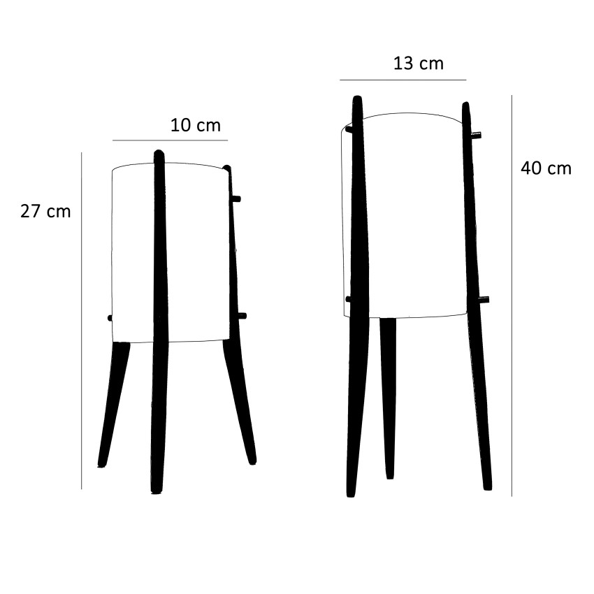 Lampe tripode Alfaplex - Dimensions