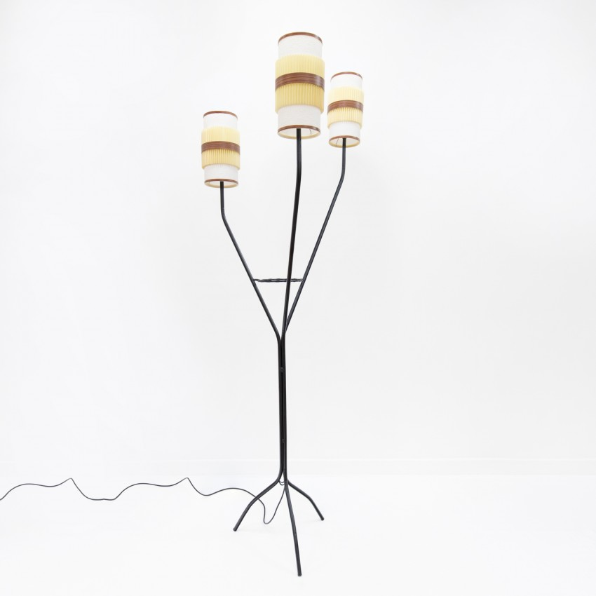 Grand lampadaire tripode avec anneau