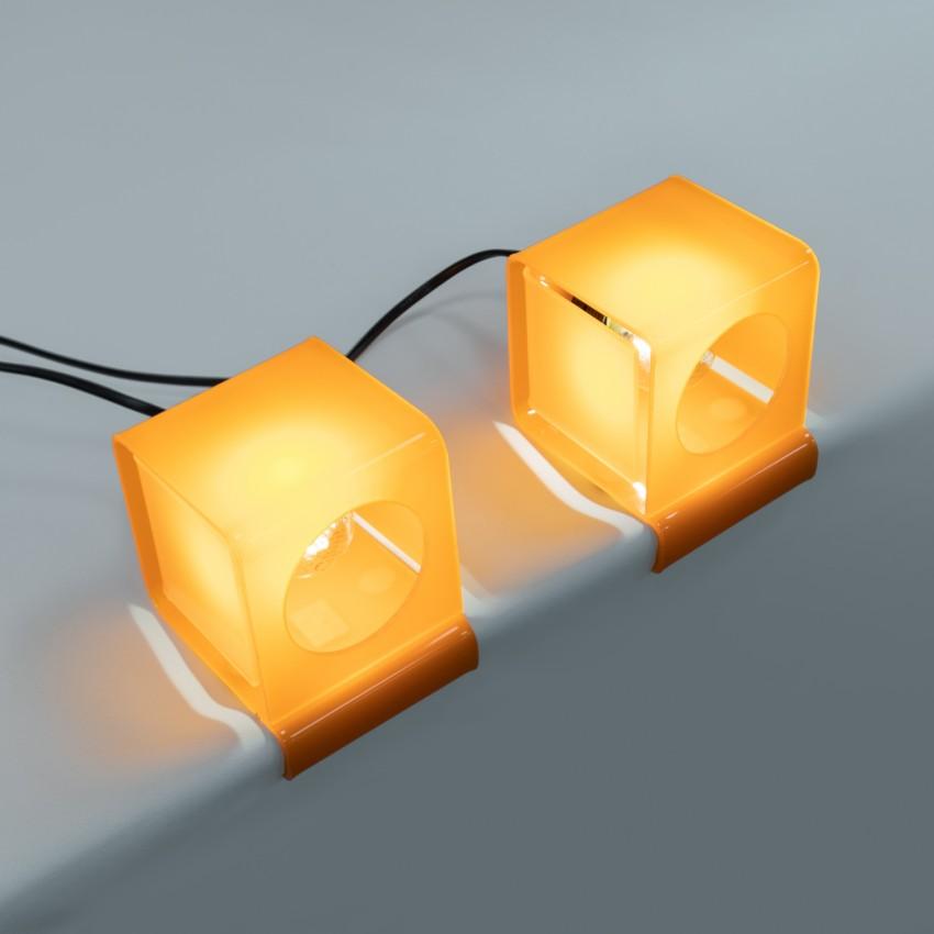 Lampe cubique en Plexiglas orange - Moinier