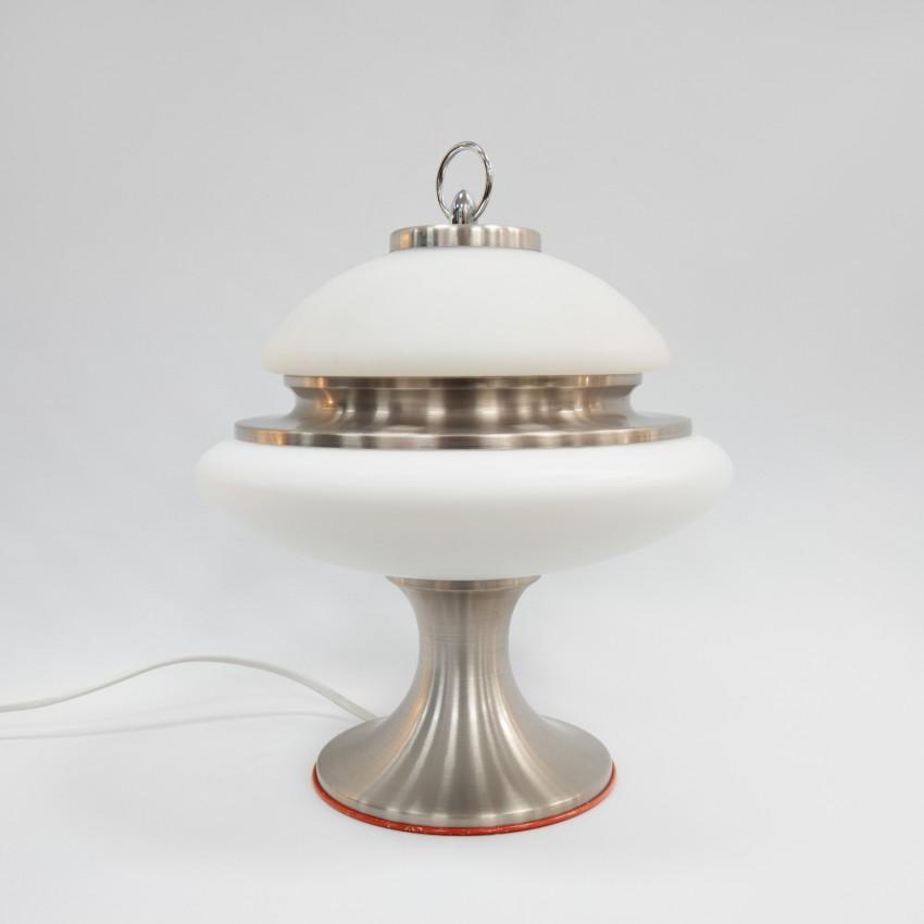 Lampe champignon en verre et aluminium