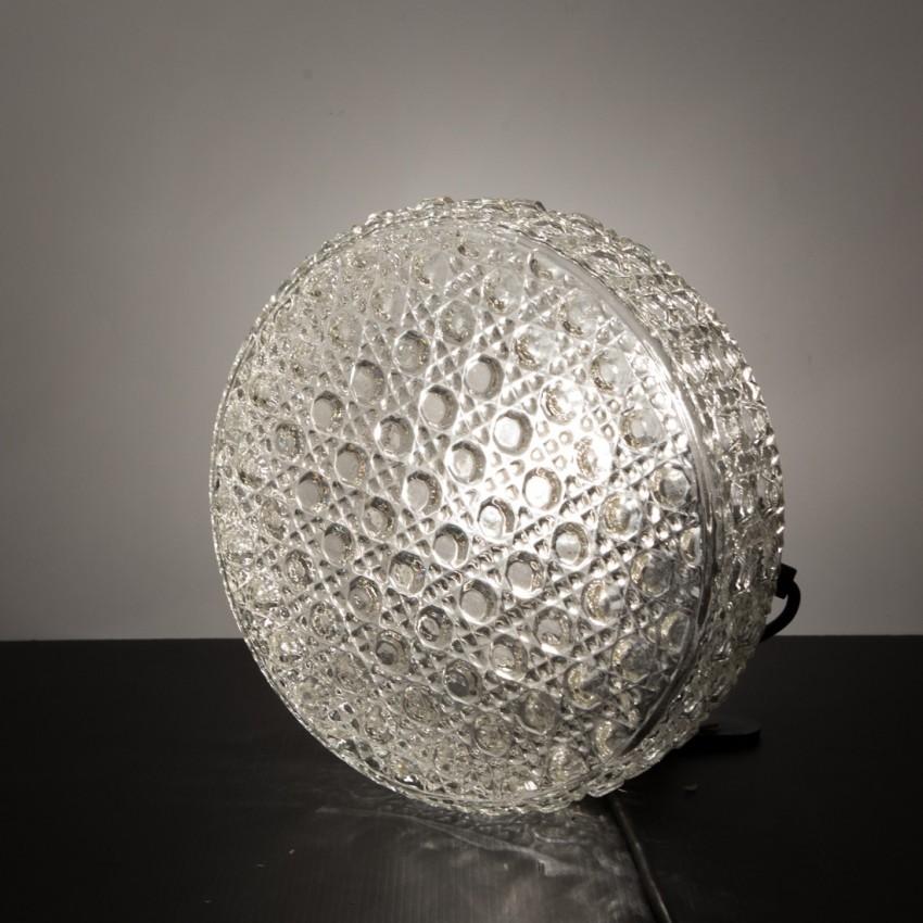 applique ronde en verre plafonnier des ann es 1960. Black Bedroom Furniture Sets. Home Design Ideas