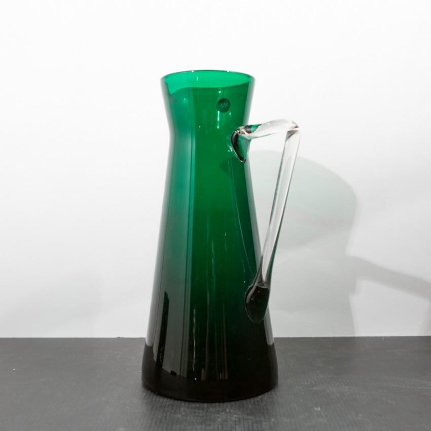 Grand pichet diabolo en verre vert vintage
