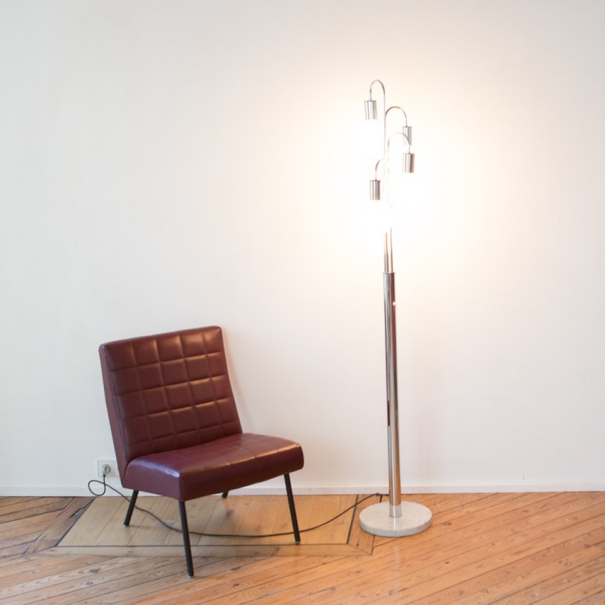 Lampadaire inox et marbre des années 1970