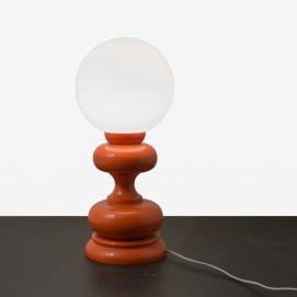 Lampe en bois tourné et opaline